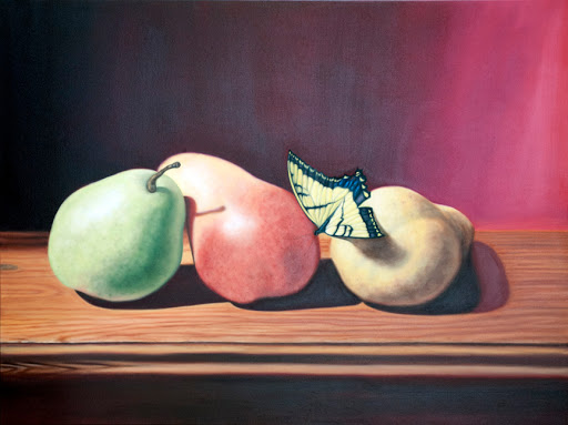"Three Pears and Butterfly 36"" by 48"". Artist Judy Prisoc"