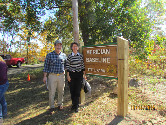 Rob and Gina Gregory at the new entrance to Meridian Baseline State Park