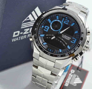 jam tangan D-ZINER DZ8061 Double time Silver chain blue