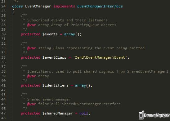 Thư viện event manager trong Zend 2.x