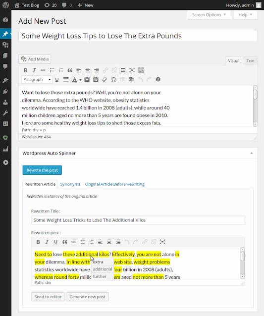 WordPress Auto Spinner   CopyRight Free Website Articles Rewriter
