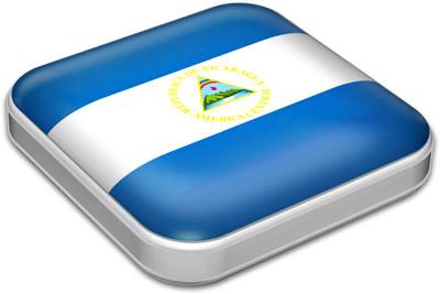 Flag of Nicaragua with metallic square frame