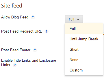 blogger  site feed options