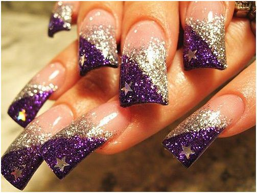 More Glitter Half Moon Nail Art Black Glossy Nails With Gold Read Featured