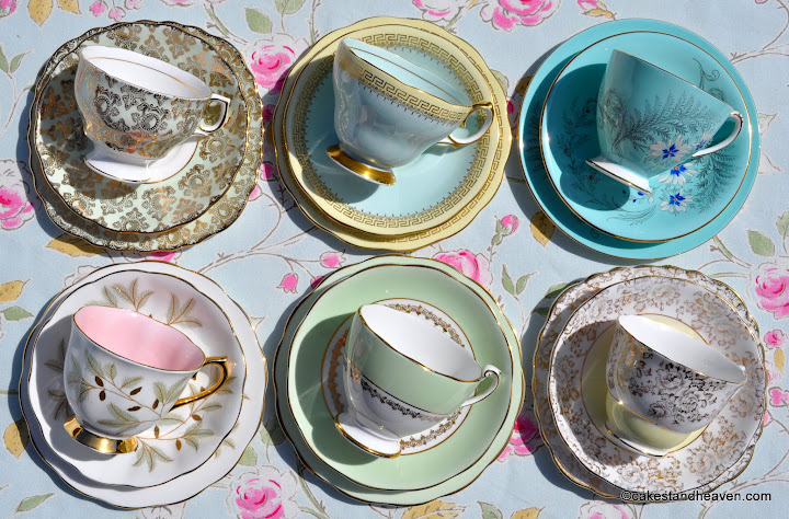 duck egg blue, green, pink and yellow vintage teacups