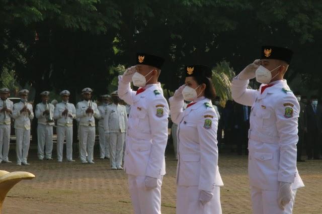 UPACARA PERINGATAN KEMERDEKAAN REPUBLIK INDONESIA KE 75 TERLAKSANA DI ALUN-ALUN KOTA BEKASI