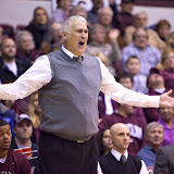 Head Coach Wayne Tinkle reacts to a questionable out-of-bounds call early in the first half of Saturday's contest.  Dahlberg Arena in Missoula, Mont., January 5th, 2013.