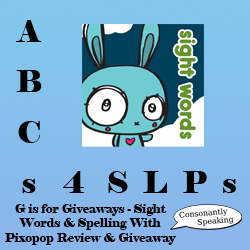 ABCs 4 SLPs: G is for Giveaways - Sight Words & Spelling With Pixopop Review and Giveaway image