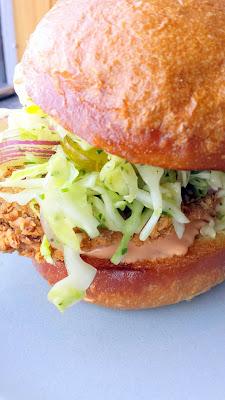 Son of a Gun, fried chicken sandwich, spicy b&b pickle slaw, rooster aioli