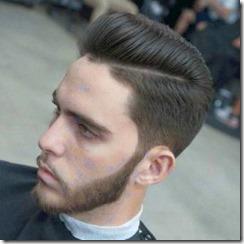 Scissor fade pompadour black hair