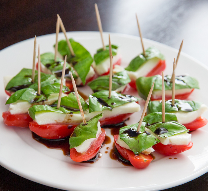 photo of plate of caprese appetizers