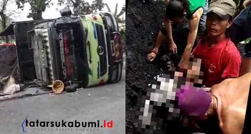 Pemotor tewas tertimpa truk di Sukabumi // Foto : Isep Panji