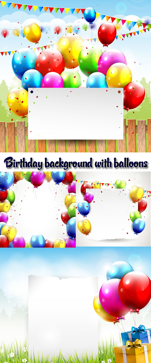 Stock: Birthday background with balloons