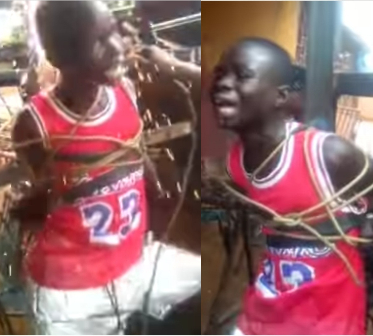 Heartbreaking footage shows boy begging for mercy as he's tied to a metal cross and subjected to multiple electric shocks (video)