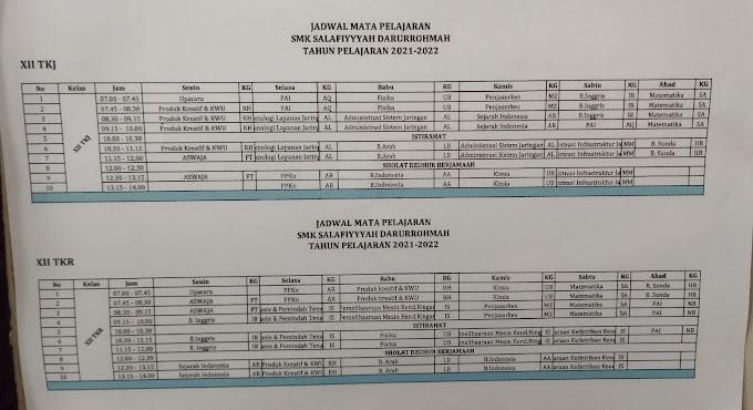 Jadwal Pelajaran Kelas XII TKJ dan TKR - SMK Sadpas 2021-2022