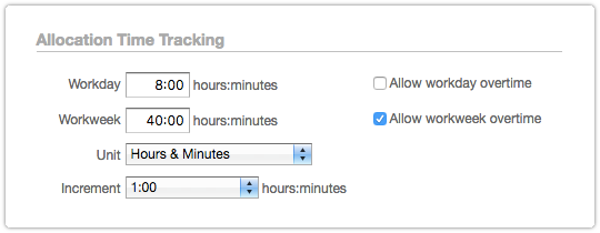Timesheet Settings - Allocation Time Tracking