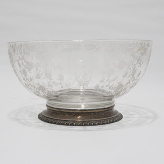 """Sterling Silver and Etched Glass Wallace 10"""" Footed Bowl"""