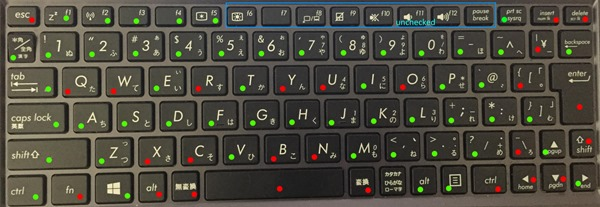 T100 Keyboard working and not working keys map