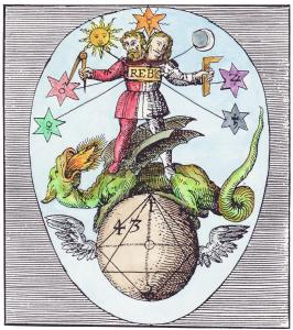 Sixth Woodcut From The Series In Basil Valentine Azoth, Alchemical And Hermetic Emblems 1