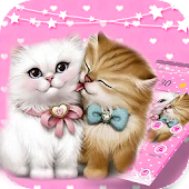 Pink Lovely Kitten Cartoon Theme
