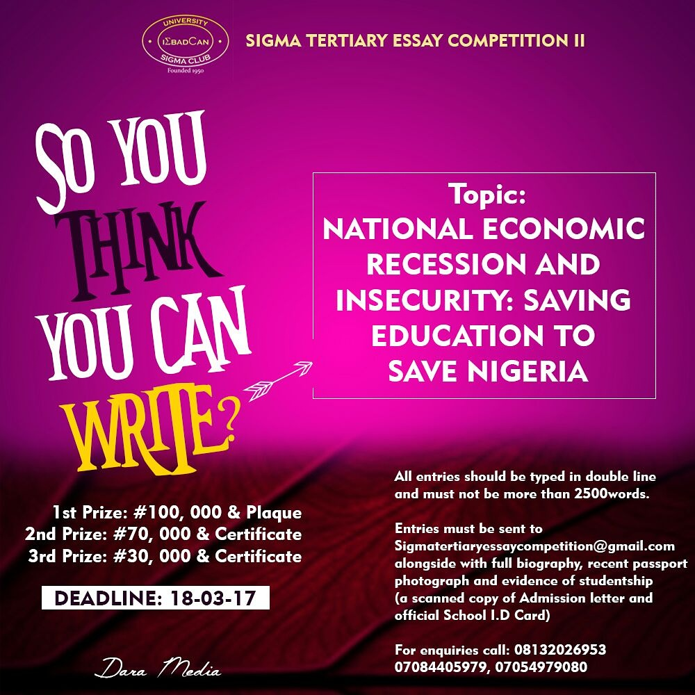 sigma tertiary essay competition 11 saving education to save unibadanvilla