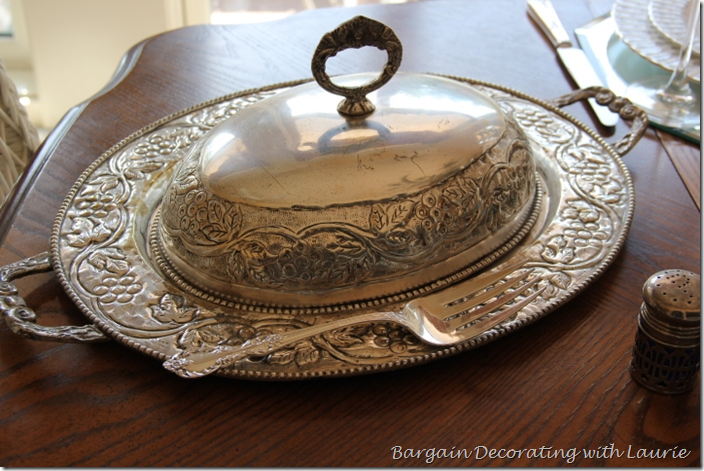 Silver Covered Tray for Fall Tablescape