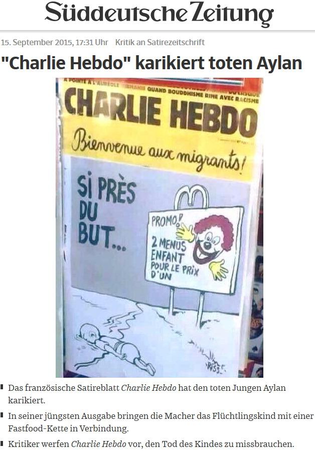 Charlie Hebdo karikiert toten Aylan