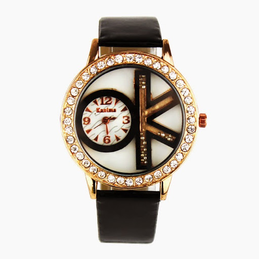 High quality ok Brand Leather Strap watch Quartz casual