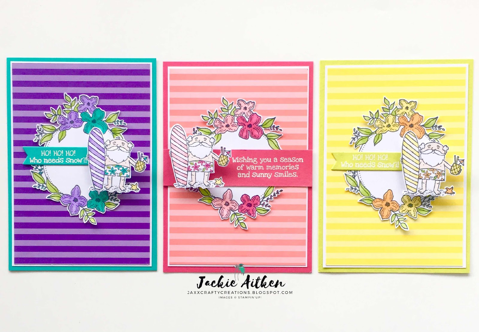 So Santa stamp set, Stampin Up, Surfing Santa, Summer Christmas, Christmas Card, Brights DSP 6x6 Pack, Floral Frames,