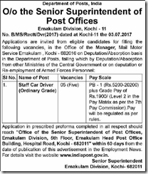 Department of Posts Kochi Notice 2017 www.indgovtjobs.in