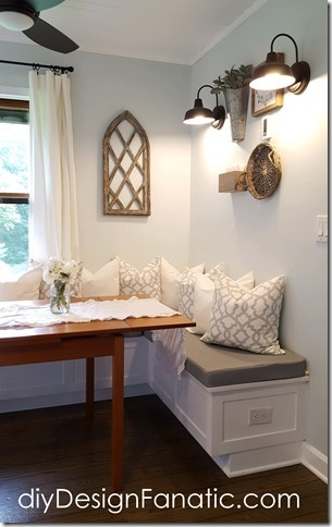 mountain cottage, cottage, kitchen reno, banquette, barn lights