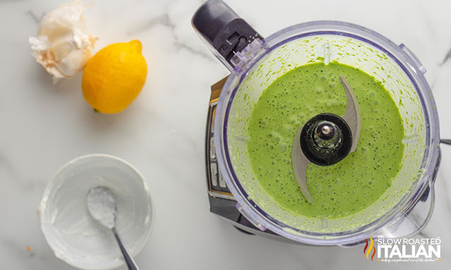 Green goddess dressing in a food processor
