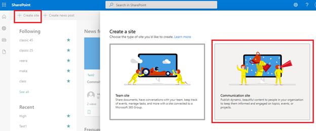 Create communication site in SharePoint online