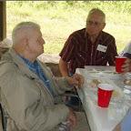 Jim Dunkley left and Allen Gleaves enjoy after picnic conversation
