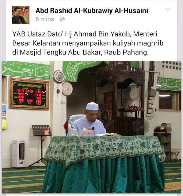 MB Kelantan Sedang Berkuliah Di Raub