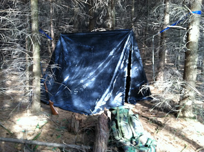 Tarp Tent - Setup in Woods