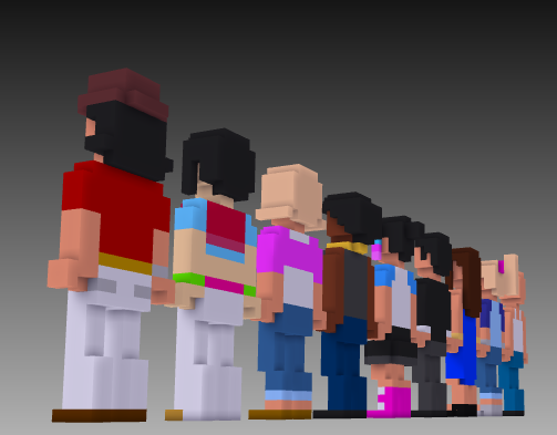 2nd set MagicaVoxel voxel people rear