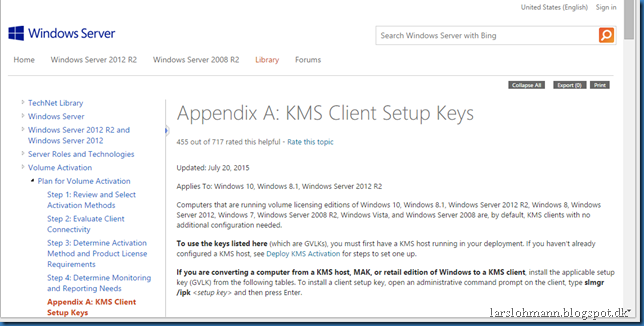 MINDCORE BLOG: Windows 10 KMS keys and KMS Server update