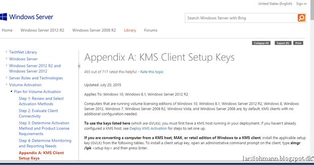 MINDCORE BLOG: Windows 10 KMS keys and KMS Server update