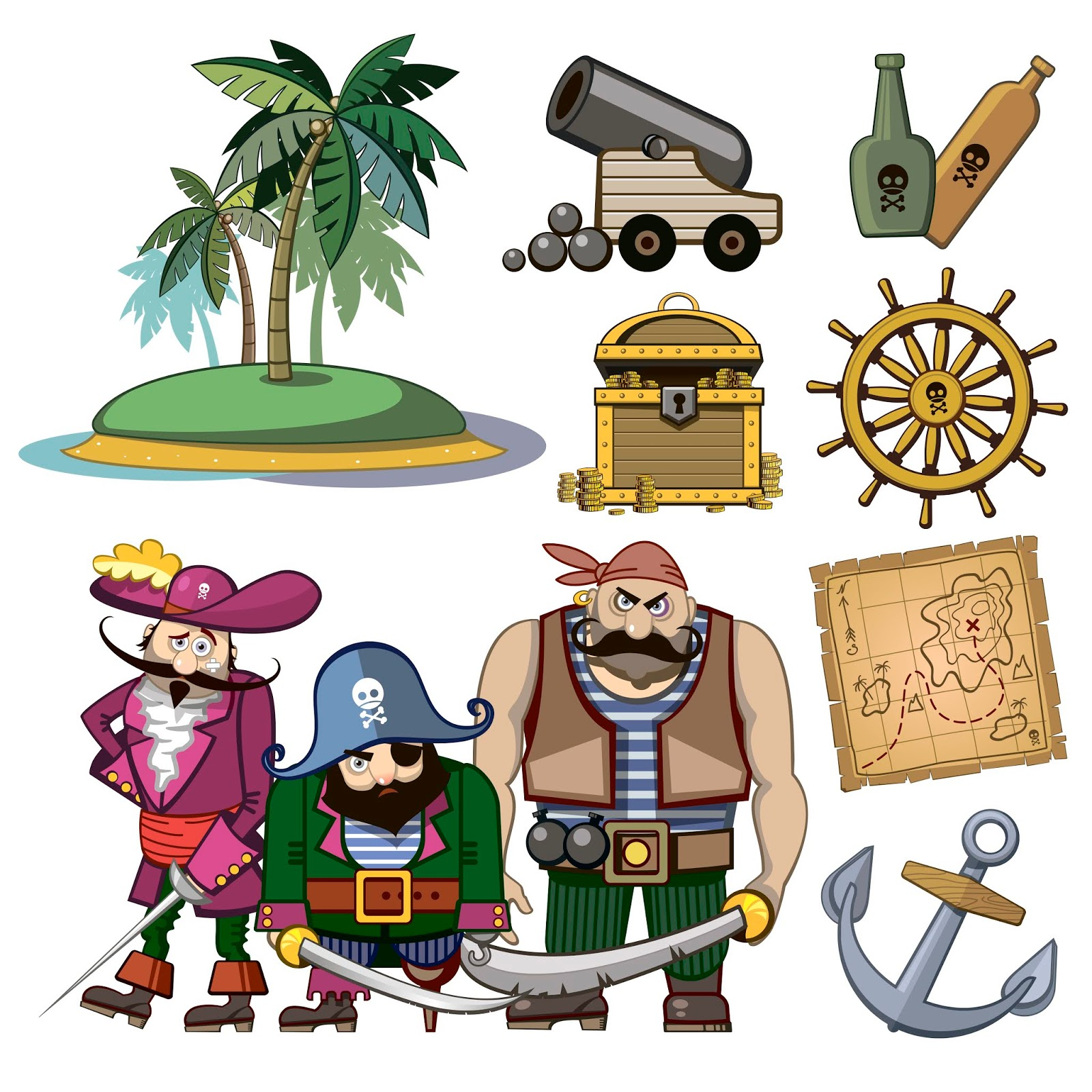 Vector Pirate Characters Set Cartoon Style Free Download Vector CDR, AI, EPS and PNG Formats