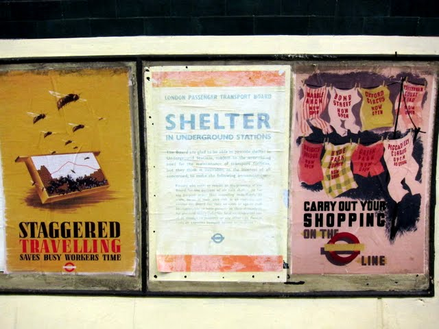 Posters in the disused Aldwych tube station in London