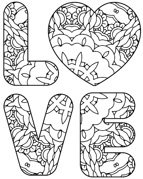 Patterned Word Love Coloring Page  Colormecaring