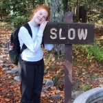 Katy gladly obeying the sign after the hike