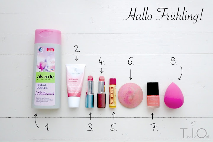 My spring products: Alverde shower gel of sea of flowers, the almond moisturizing cream from Weleda, Tulip by Alterra, Soft coral by Terra Naturi, the pomegranate lip balm by Burt's bees, the alverde Rouge dizzy peach, the Benecos lacquer peach sorbet and the ebelin professional Make-Up egg!