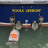 Double-take! Poole's Tyne class lifeboat 'City of Sheffield' with a model of the station's former Brede class lifeboat.