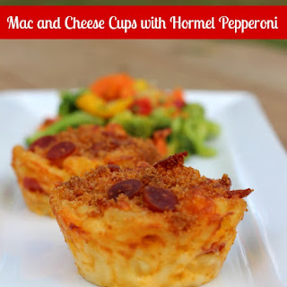 Mac and Cheese Cups with Hormel Pepperoni