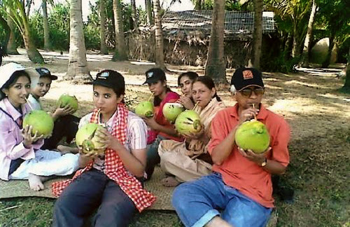 Enjoying coconut