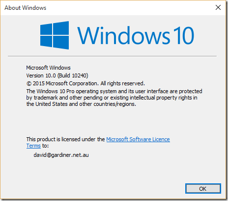 About Windows 10 dialog