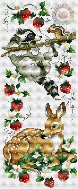 Schema punto croce bamby e orsetto tra le fragole
