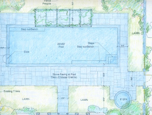 Pool, spa, deck and pergola plan.